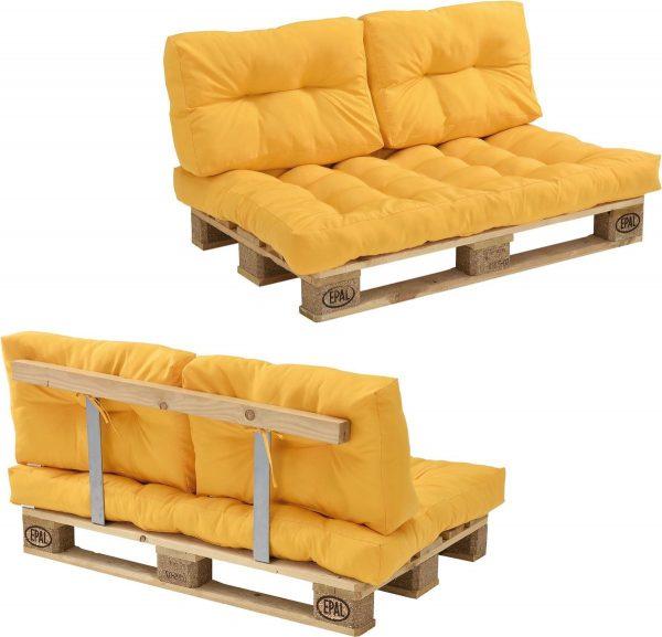 [en.casa]® Palletbank - tweezitsbank - pallet sofa geel