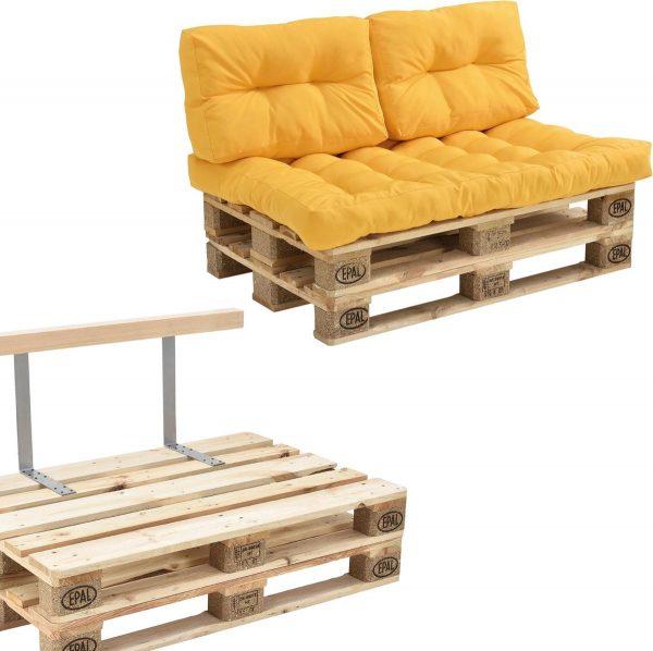 [en.casa]® Palletbank - tweezitsbank - pallet sofa - geel