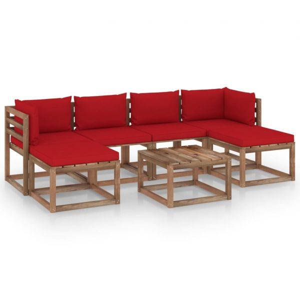 7-delige Loungeset pallet met kussens geïmpregneerd grenenhout