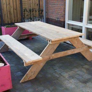 Picknick tafel van Gebruikt steigerhout 180x200x78cm