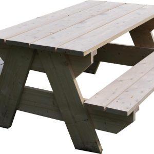 Picknicktafel - 4 Persoons - Tuintafel - Nieuw steigerhout - Vurenhout - Geschaafd - 150x140