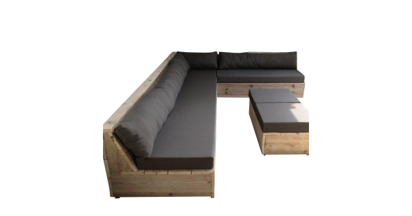 Wood4you - Loungeset 13 Steigerhout 300cm/250cm incl kussens (Lvorm)