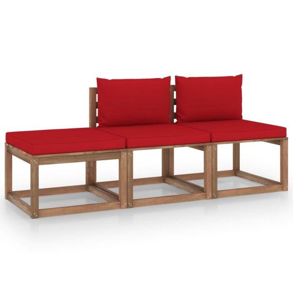 3-delige Loungeset pallet met kussens geïmpregneerd grenenhout