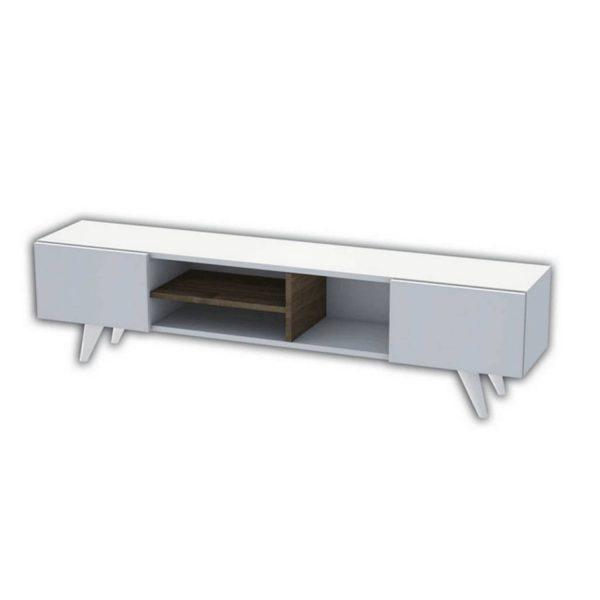 Homemania Tv-meubel Dore 160x29,7x40,6 Cm Wit En Walnootkleurig