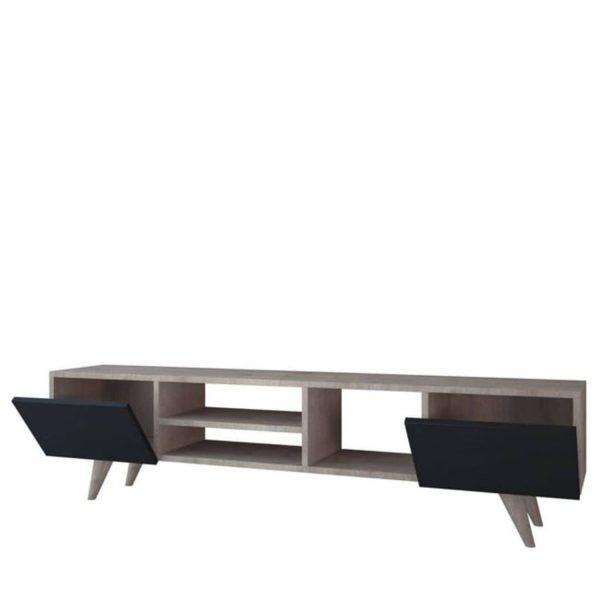 Homemania Tv-meubel Dore 160x29,7x40,6 Cm Zwart En Walnootkleurig