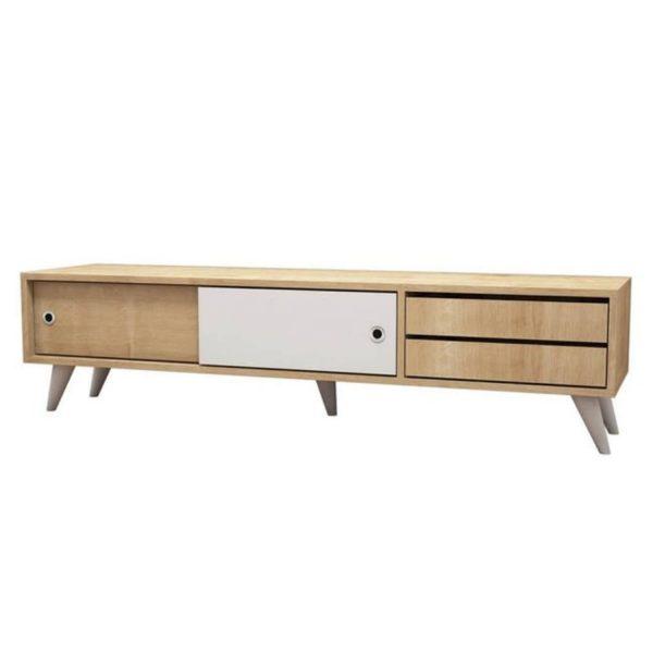 Homemania Tv-meubel Eduardo 160x40x40 Cm Eikenkleurig En Wit