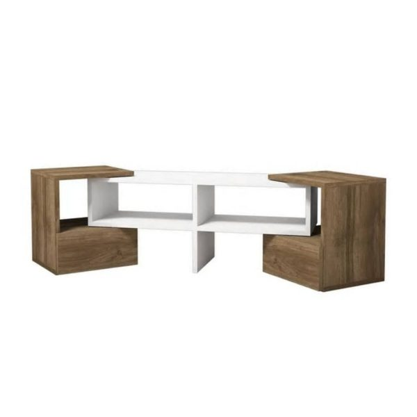 Homemania Tv-meubel Fold 141,2x29,7x38,8 Cm Wit En Walnootkleurig