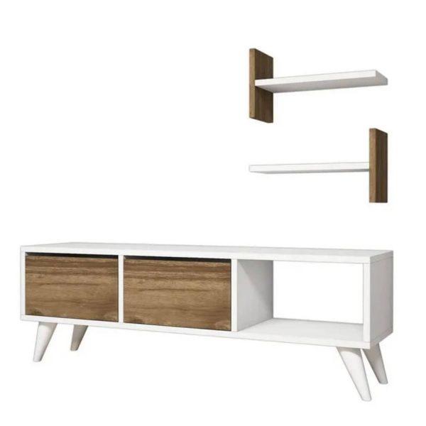 Homemania Tv-meubel Foxy 120x30x40 Cm Wit En Walnootkleurig