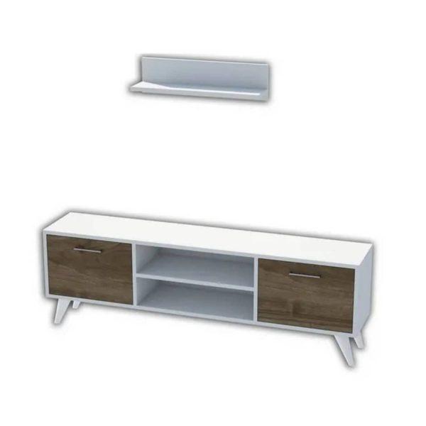 Homemania Tv-meubel Horus 120x30x48,6 Cm Wit En Walnootkleurig