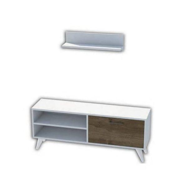 Homemania Tv-meubel Party 120x29,7x48,6 Cm Wit En Walnootkleurig