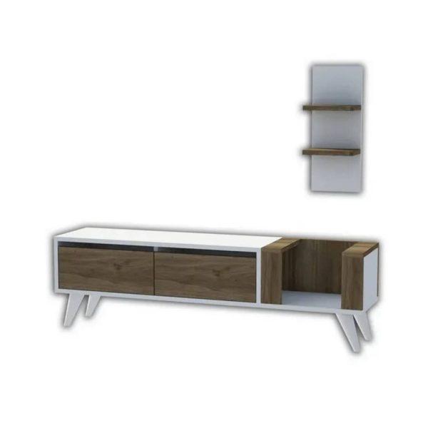 Homemania Tv-meubel Pers 130x30x38,6 Cm Wit En Walnootkleurig