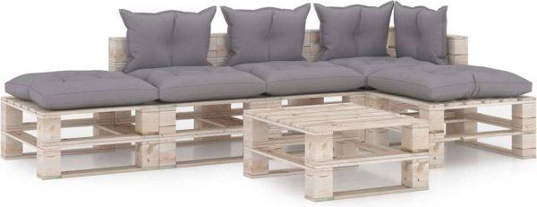 Medina 6-delige Loungeset met kussens pallet grenenhout