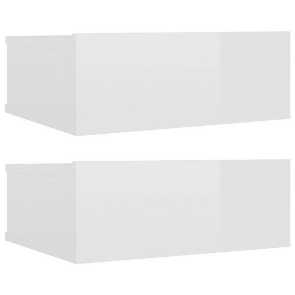 Vidaxl Nachtkastjes 2 St Zwevend 40x30x15 Cm Spaanplaat Hoogglans Wit