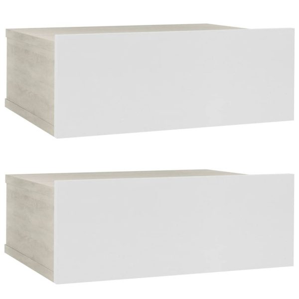 Vidaxl Nachtkastjes Zwevend 2 St 40x30x15 Cm Spaanplaat Wit En Eiken