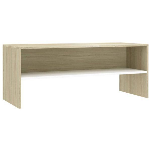 Vidaxl Tv-meubel 100x40x40 Cm Spaanplaat Wit En Sonoma Eikenkleurig