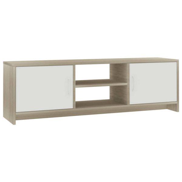 Vidaxl Tv-meubel 120x30x37,5 Cm Spaanplaat Wit En Sonoma Eikenkleurig