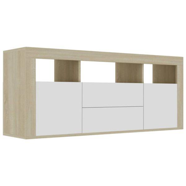 Vidaxl Tv-meubel 120x30x50 Cm Spaanplaat Wit En Sonoma Eikenkleurig