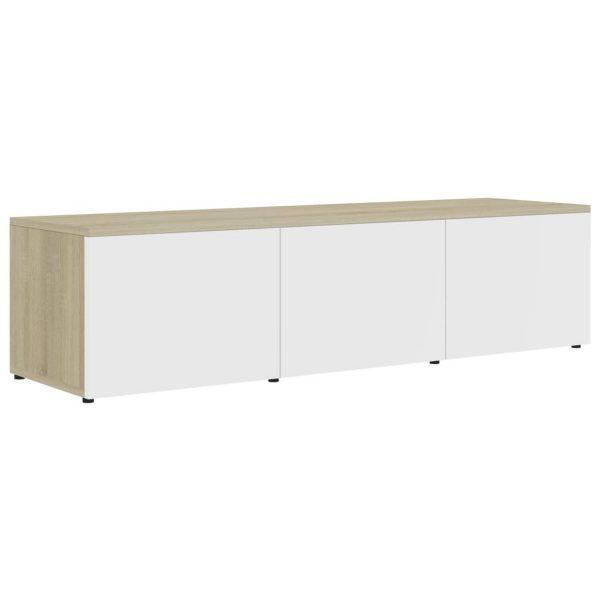Vidaxl Tv-meubel 120x34x30 Cm Spaanplaat Wit En Sonoma Eikenkleurig