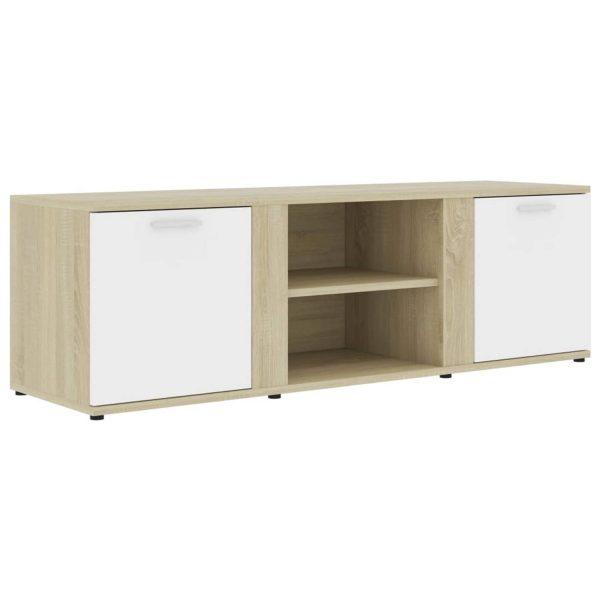 Vidaxl Tv-meubel 120x34x37 Cm Spaanplaat Wit En Sonoma Eikenkleurig