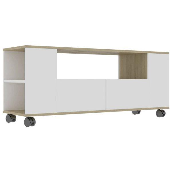 Vidaxl Tv-meubel 120x35x43 Cm Spaanplaat Wit En Sonoma Eikenkleurig