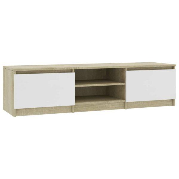 Vidaxl Tv-meubel 140x40x35,5 Cm Spaanplaat Wit En Sonoma Eikenkleurig