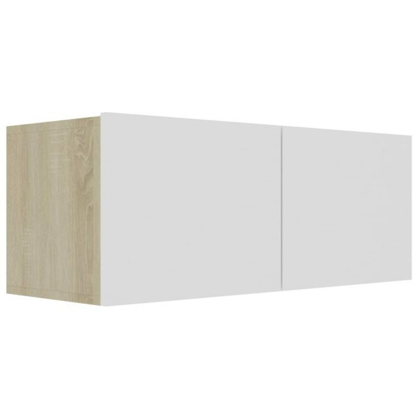 Vidaxl Tv-meubel 80x30x30 Cm Spaanplaat Wit En Sonoma Eikenkleurig