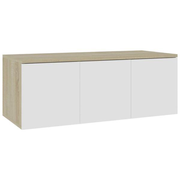 Vidaxl Tv-meubel 80x34x30 Cm Spaanplaat Wit En Sonoma Eikenkleurig