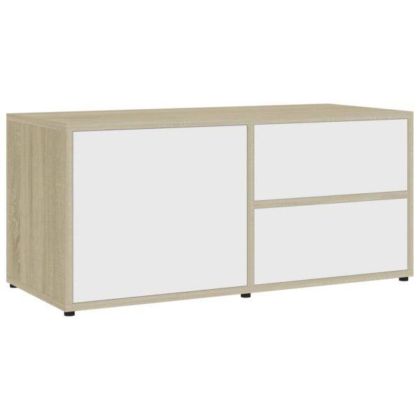 Vidaxl Tv-meubel 80x34x36 Cm Spaanplaat Wit En Sonoma Eikenkleurig