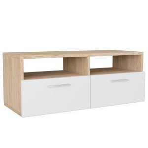 Vidaxl Tv-meubel 95x35x36 Cm Spaanplaat Eikenkleurig En Wit
