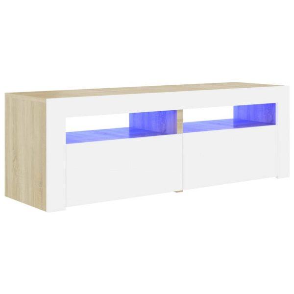 Vidaxl Tv-meubel Met Led-verlichting 120x35x40cm Wit Sonoma Eikenkleur