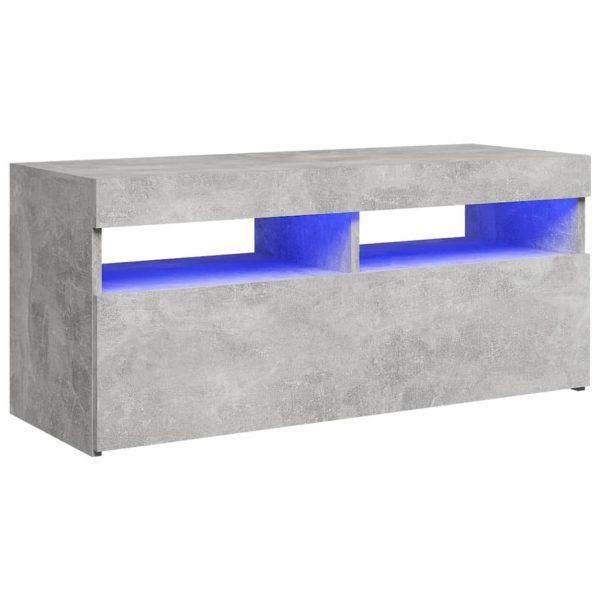 Vidaxl Tv-meubel Met Led-verlichting 90x35x40 Cm Betongrijs
