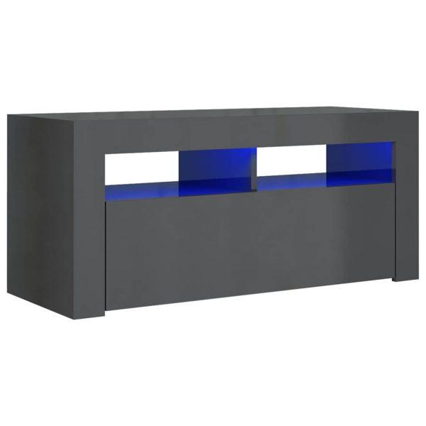 Vidaxl Tv-meubel Met Led-verlichting 90x35x40 Cm Hoogglans Grijs
