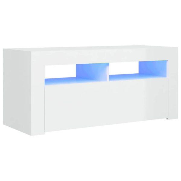 Vidaxl Tv-meubel Met Led-verlichting 90x35x40 Cm Hoogglans Wit