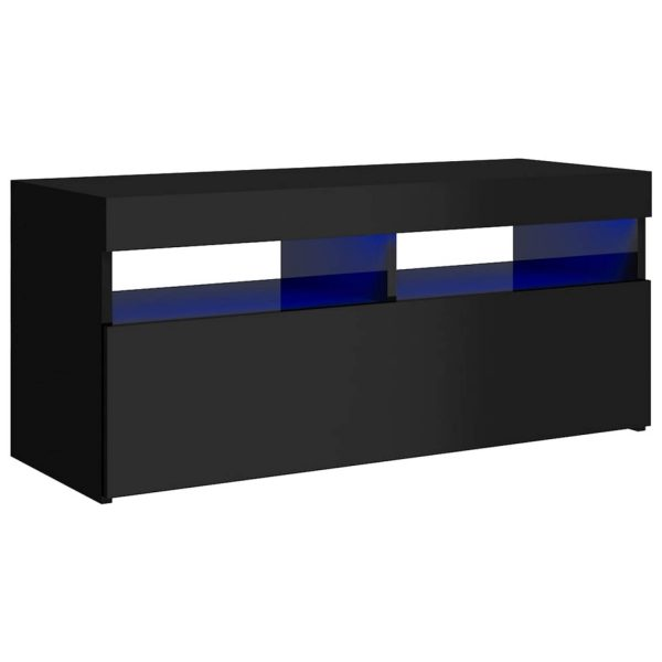 Vidaxl Tv-meubel Met Led-verlichting 90x35x40 Cm Hoogglans Zwart