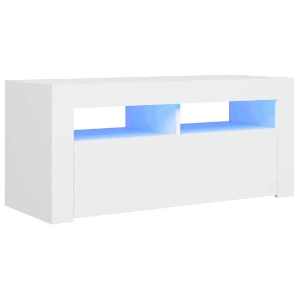 Vidaxl Tv-meubel Met Led-verlichting 90x35x40 Cm Wit