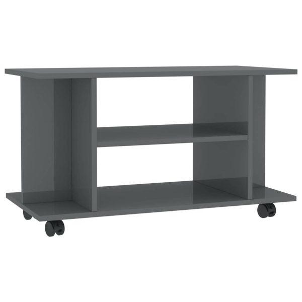 Vidaxl Tv-meubel Met Wieltjes 80x40x40 Cm Spaanplaat Hoogglans Grijs