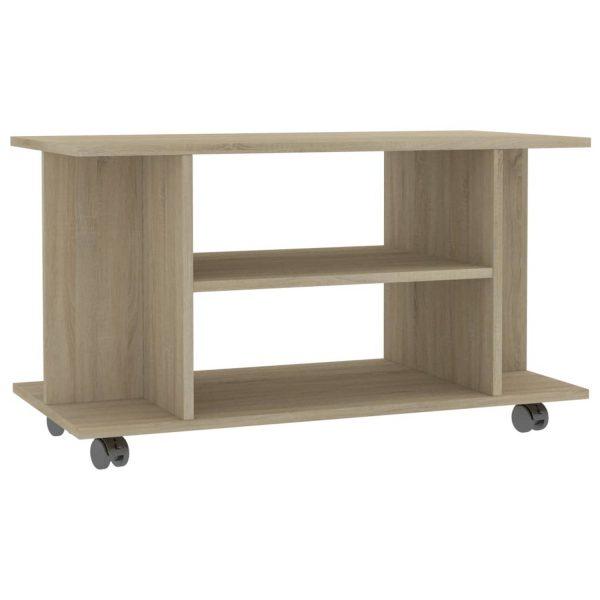 Vidaxl Tv-meubel Met Wieltjes 80x40x40 Cm Spaanplaat Sonoma Eikenkleur