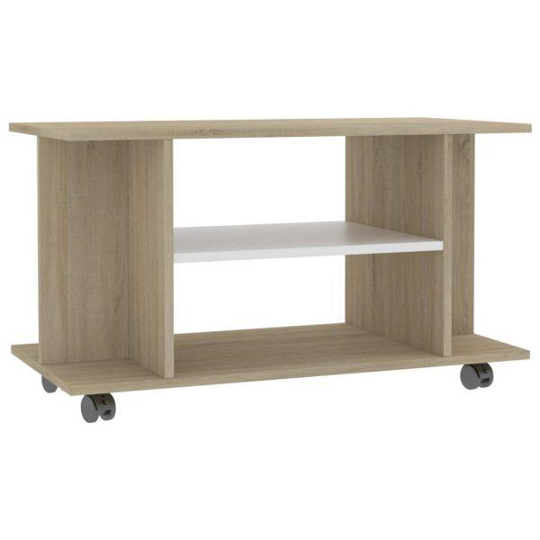 Vidaxl Tv-meubel Met Wieltjes 80x40x40 Cm Spaanplaat Wit En Sonoma
