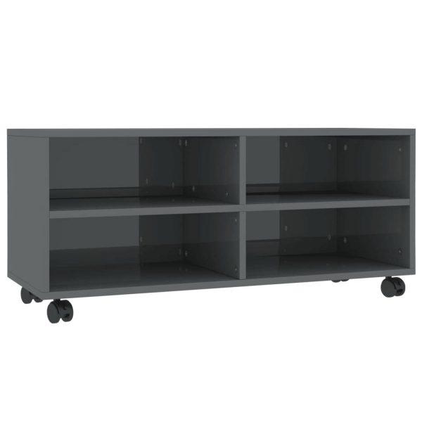Vidaxl Tv-meubel Met Wieltjes 90x35x35 Cm Spaanplaat Hoogglans Grijs