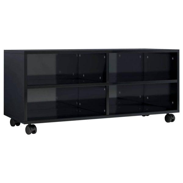 Vidaxl Tv-meubel Met Wieltjes 90x35x35 Cm Spaanplaat Hoogglans Zwart