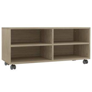 Vidaxl Tv-meubel Met Wieltjes 90x35x35 Cm Spaanplaat Sonoma Eikenkleur
