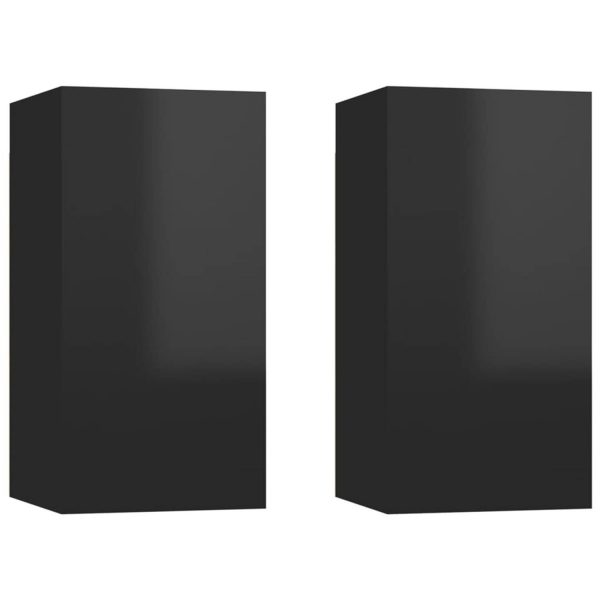 Vidaxl Tv-meubelen 2 St 30,5x30x60 Cm Spaanplaat Hoogglans Zwart