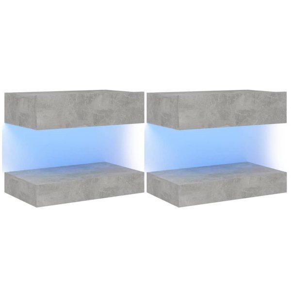 Vidaxl Tv-meubelen 2 St Met Led-verlichting 60x35 Cm Betongrijs