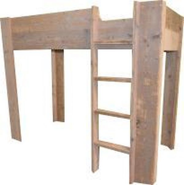 Wood4you - Hoogslaper bed Noortje steigerhout 206Lx165Hx96D cm