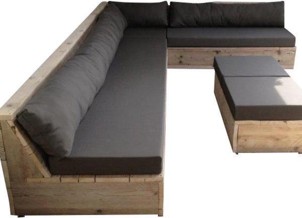 Wood4you - Loungeset 13 Steigerhout 250cm/200cm incl kussens (GL-vorm)