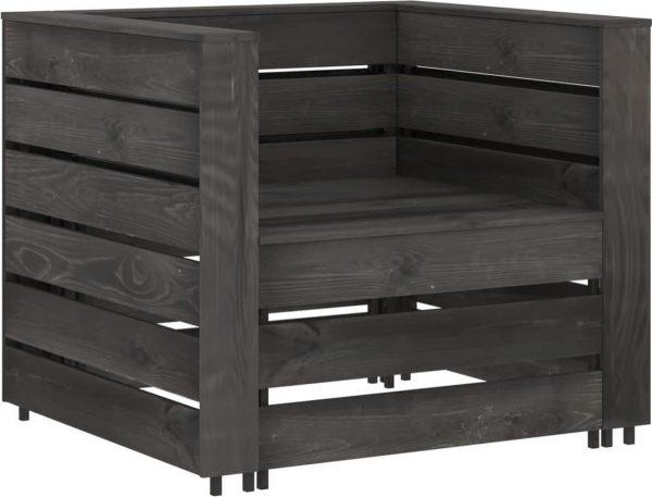 vidaXL 2-delige Loungeset pallet geïmpregneerd grenenhout grijs