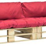vidaXL 2-delige Loungeset pallet met rode kussens grenenhout VDXL_275298