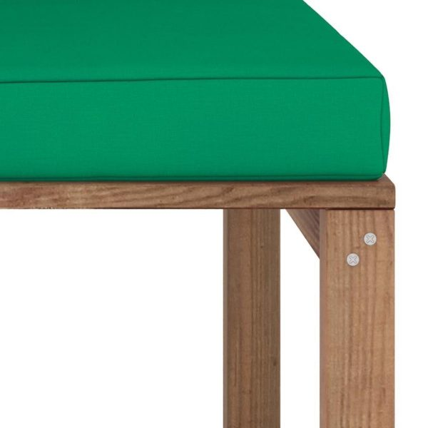 vidaXL Tuinhoekbank met groene kussens pallet