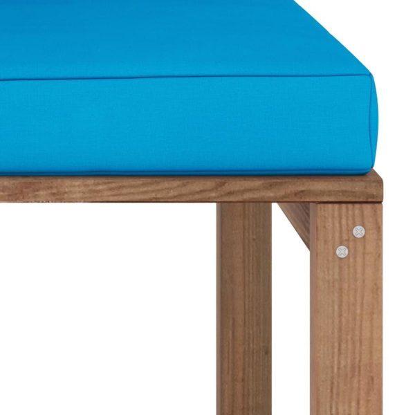 vidaXL Tuinhoekbank met lichtblauwe kussens pallet