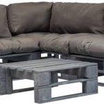 4-delige Loungeset – Pallet met grijze kussens – FSC hout – (incl. Fleecedeken)